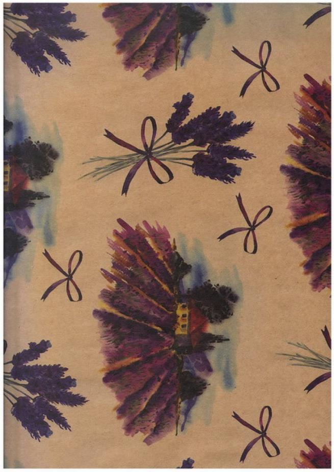 """бумага подарочная крафт """"цветущий прованс"""" 0,7х1м размер листа (10 листов в упаковке)"""