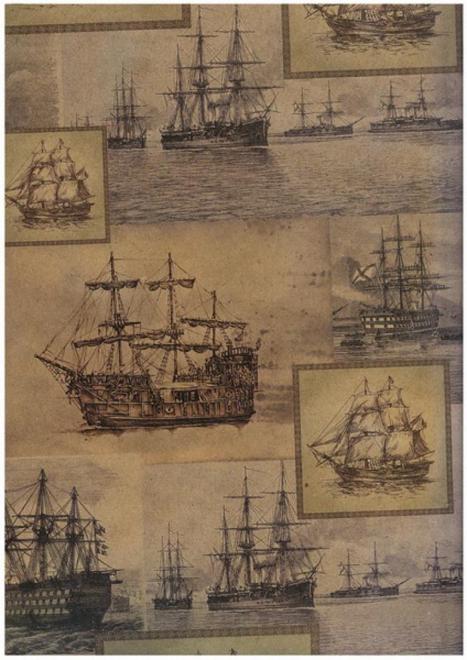 """бумага подарочная крафт """"корабли"""" 0,7х1м в листе (10 листов в упаковке)"""