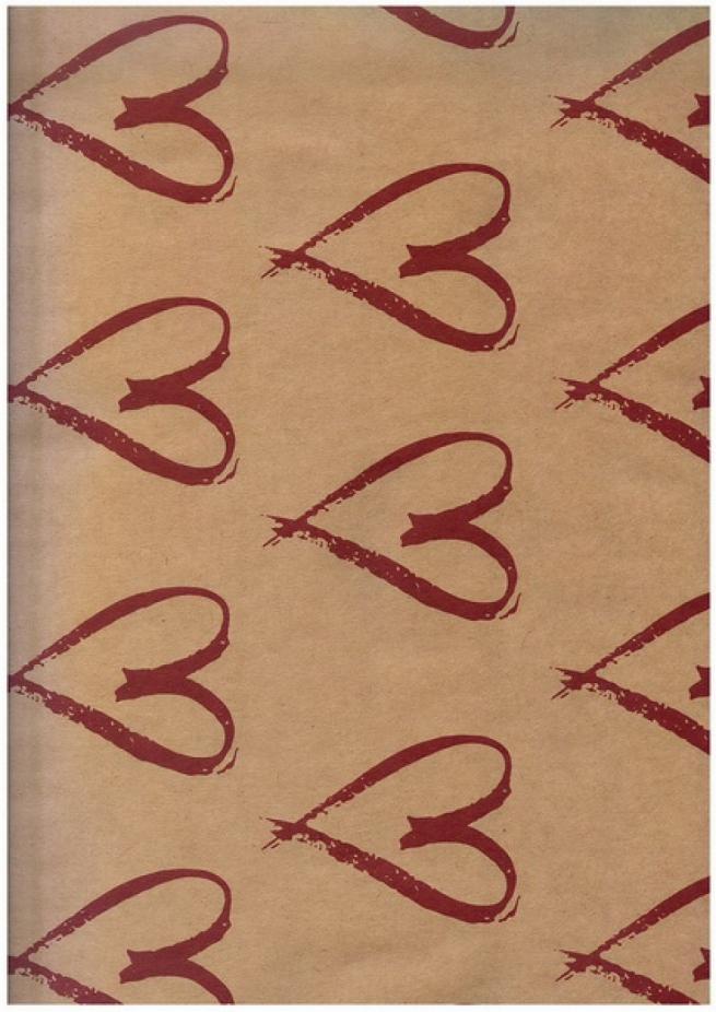 """бумага подарочная крафт """"нарисованное сердце"""" 0,7х1м размер листа (10 листов в упаковке)"""