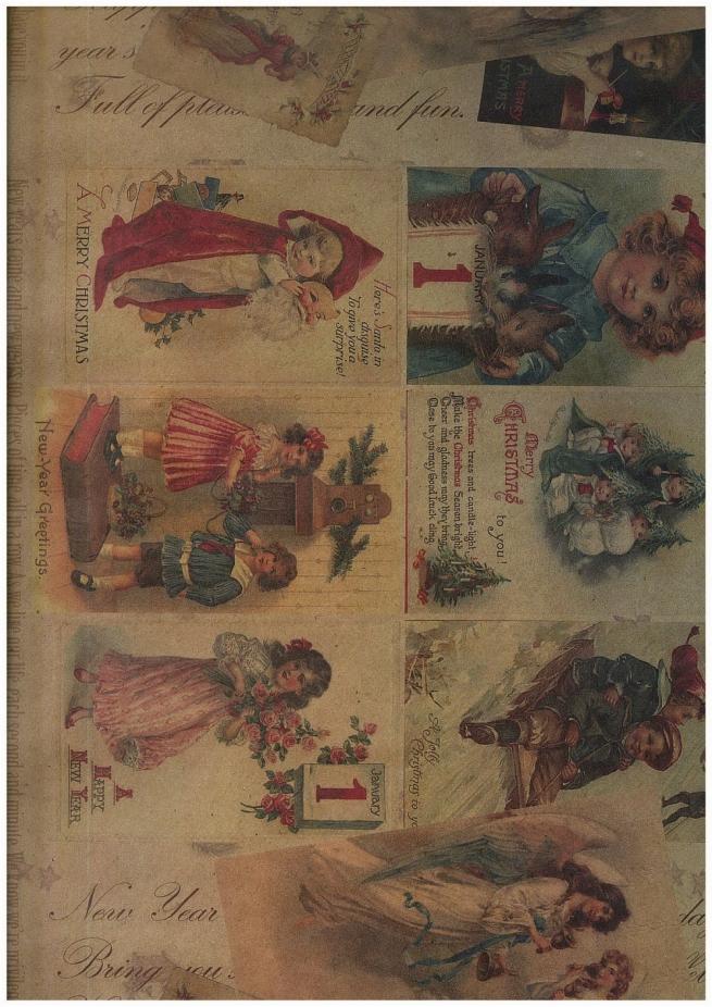 """бумага подарочная крафт """"новогодние открытки"""" 0,7х1м в листе (10 листов)"""