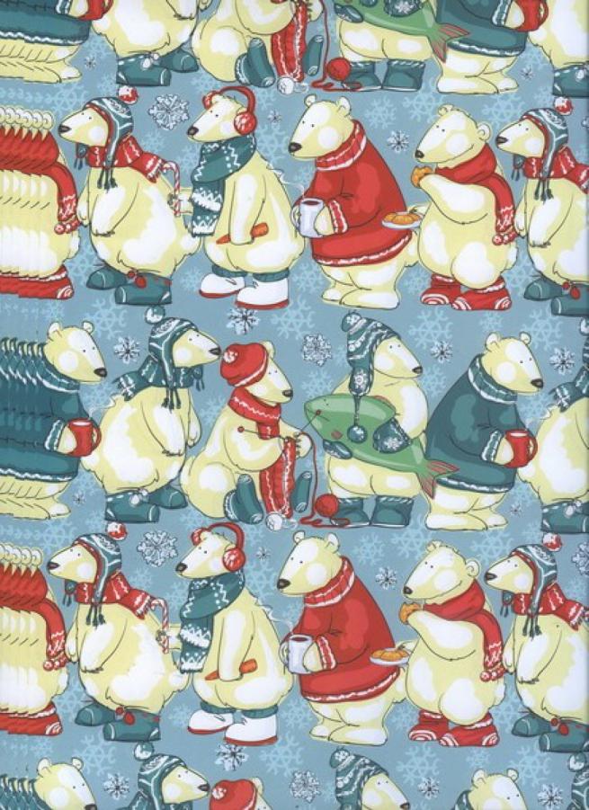 "бумага подарочная крафт ""новый год очередь за подарками"" 0,7х1м (10 листов)"
