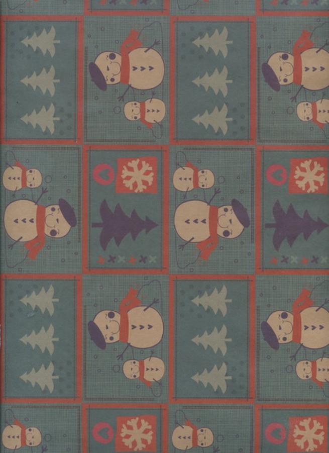 "бумага подарочная крафт новый год. ""снеговички"" 0,7х1м (10 лист.)"