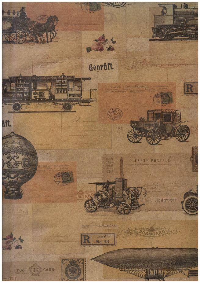 """бумага подарочная крафт """"паровозы ретро"""" 0,7х1м в листе (10 листов в рулоне"""