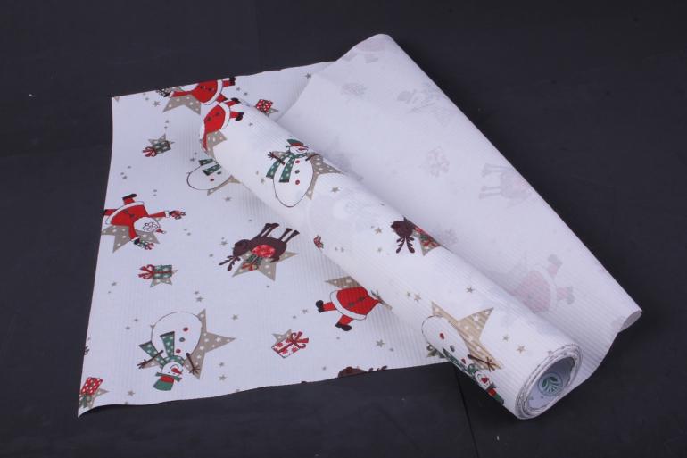 бумага  рифленая в рулоне дед мороз на белом  50см*10м   131136
