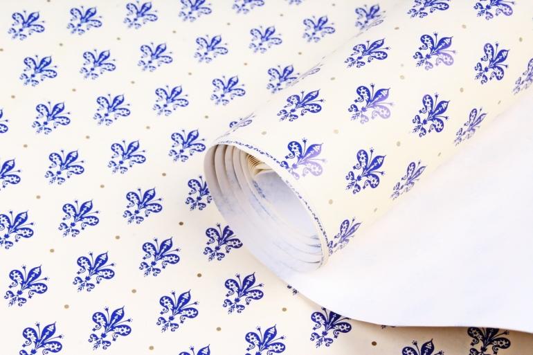 Бумага  ГЛЯНЕЦ  Лилии синие 0,7*1м в лист. (10 лист.)  GL003    М