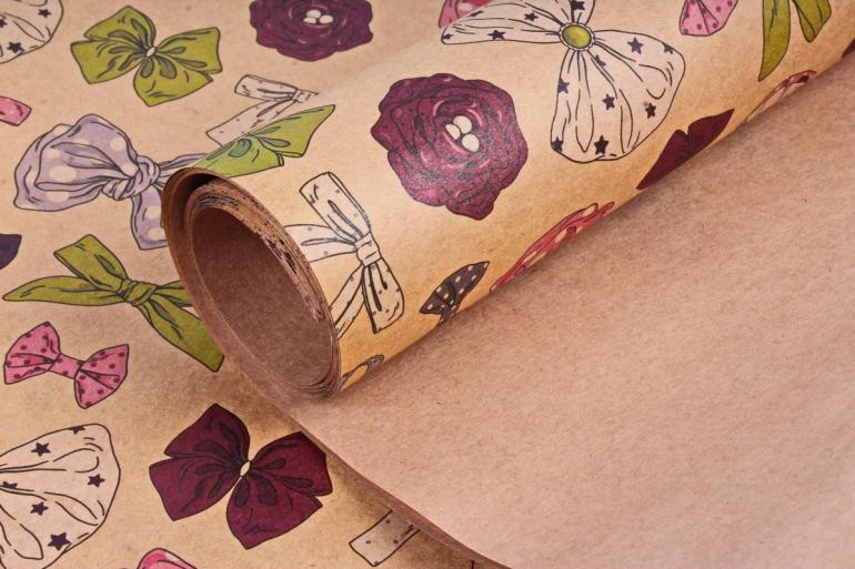 Бумага  КРАФТ 203/374 Бантики 100*70см  (10 лист.)