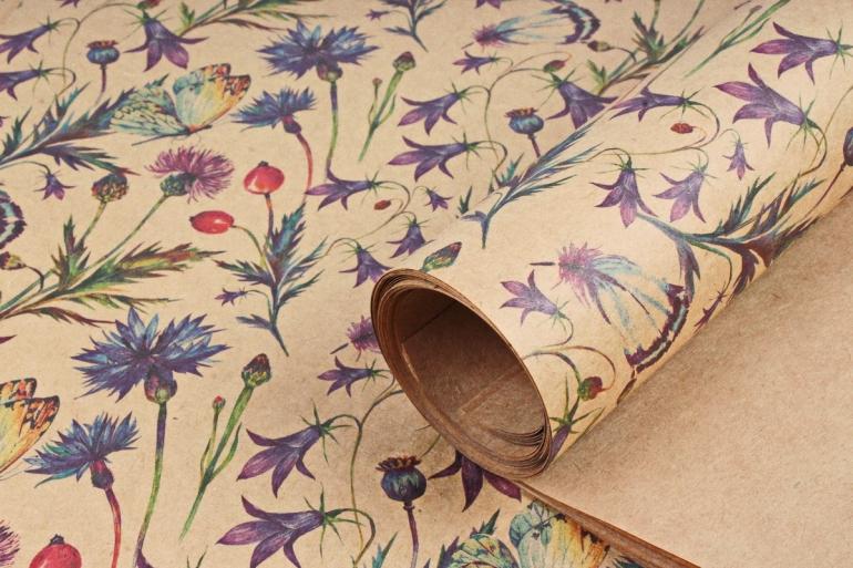 Бумага  КРАФТ 203/375 Дикорастущие цветы  100*70см  (10 лист.)
