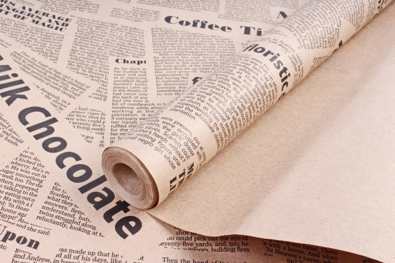 Бумага  крафт цветочная газета Milk Chokolate 70см*10м 60г/м2  К712  М