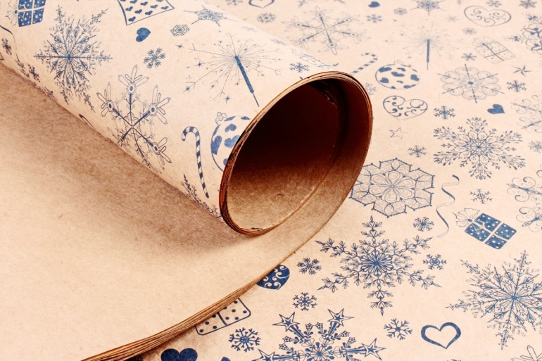 Бумага  крафт 203/Х143  Нов. Год.  Снежный вихрь 0,7*1м (10 лист.)