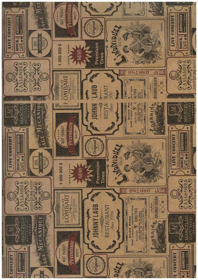 бумагаподарочная крафт этикетки 78г/м2 70см х 10м (рулон)