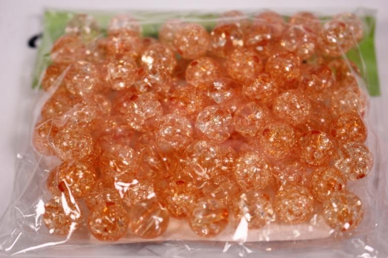 бусины  10мм круглые оранжевые  (50гр) pl  01-10 812