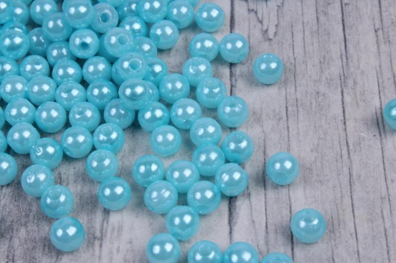 бусины  6мм круглые перламутр  голубой  (50гр) pl в асс. k6-17  7599