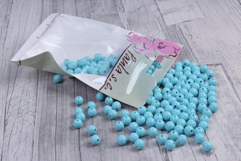 бусины  8мм круглые матовые голубые   8cmmble  (50гр) pl в асс.  4214