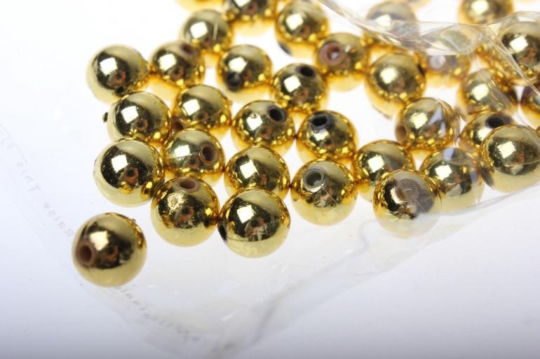 бусины 10 мм 50 гр. бусины круглые цветные 10мм (50гр) pl в ассортименте - золото 2500