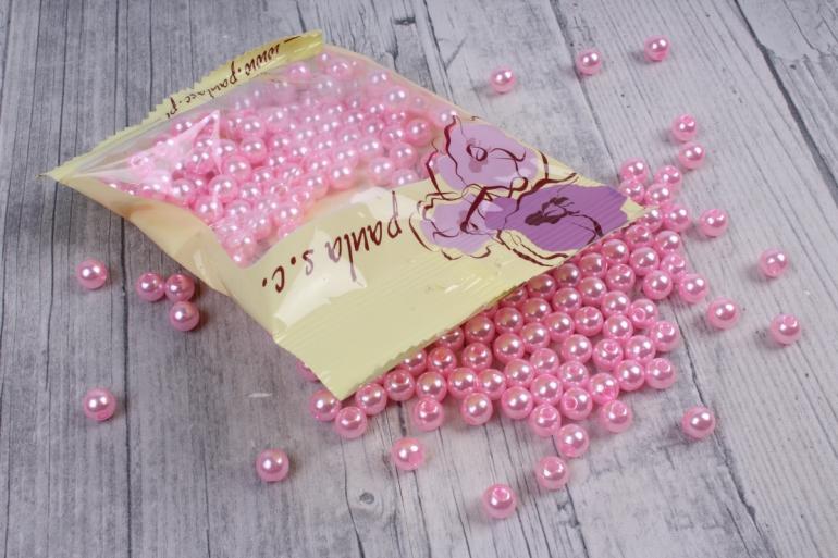 бусины    круглые перламутр розовый  (50гр) pl в асс. k8pb  rozowy  6942