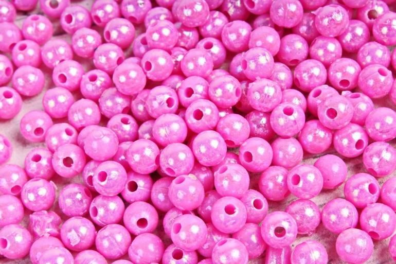 Бусины  6мм Круглые перламутр.  ярко-розовые  (50гр) 6MMAB54