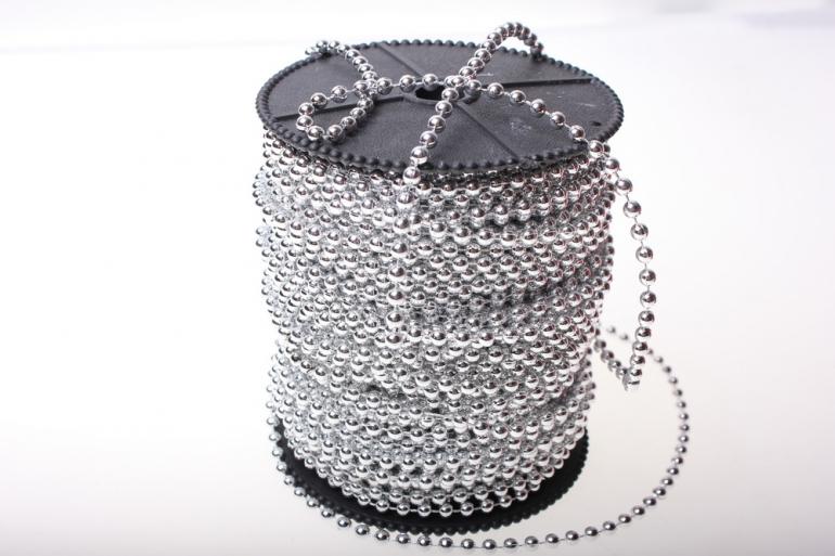 бусины 4 мм 40 м. бусины на бобине 4мм на 40м в ассортименте - серебро 2498