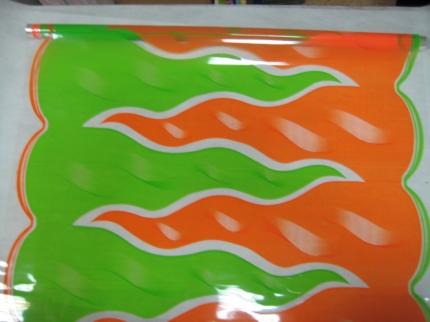 пламя 0.7 цветочная плёнка - рулон 0.7 пламя - оранжево салатовый 7136