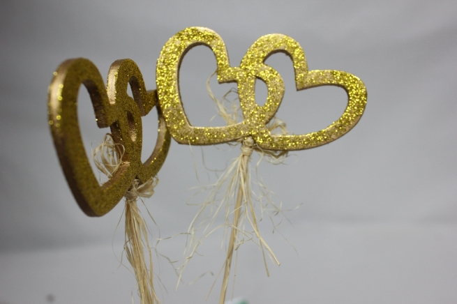 вставки декоративная 6721 вставка сердца двойные с блестками большие золото (6 шт. в уп.) 7283