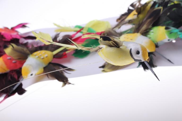 бабочки и птички декоративная искусственная флористическая - птичка коллибри большая 14см на прищепке (12шт в уп) 2076