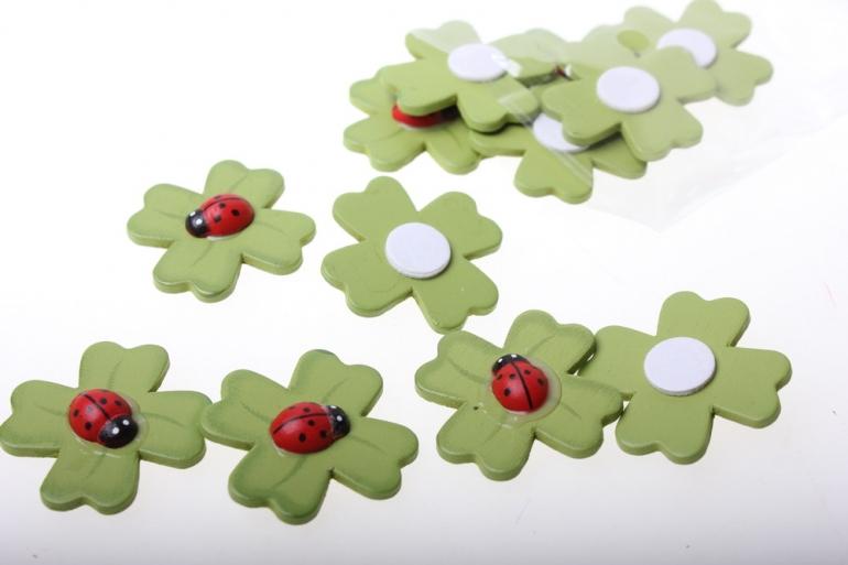 липучки декоративная липучка флористическая - 45455 божья коровка на листе (24шт в уп) 2507