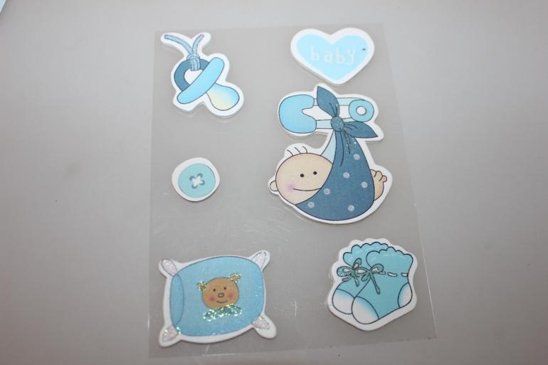 липучки декоративная липучка флористическая - 9262  наклейка новорожденный голубой (6шт. в уп.) 7388