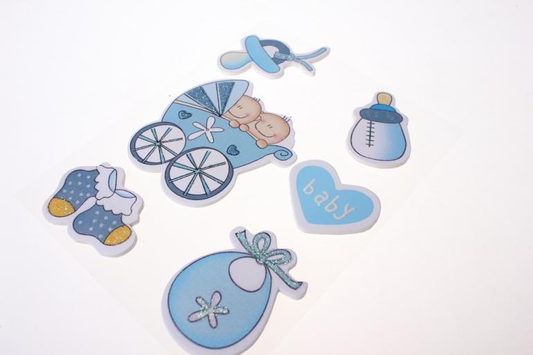 липучки декоративная липучка флористическая - 9279 наклейка новорожденный голубой (6шт. в уп.) 3032