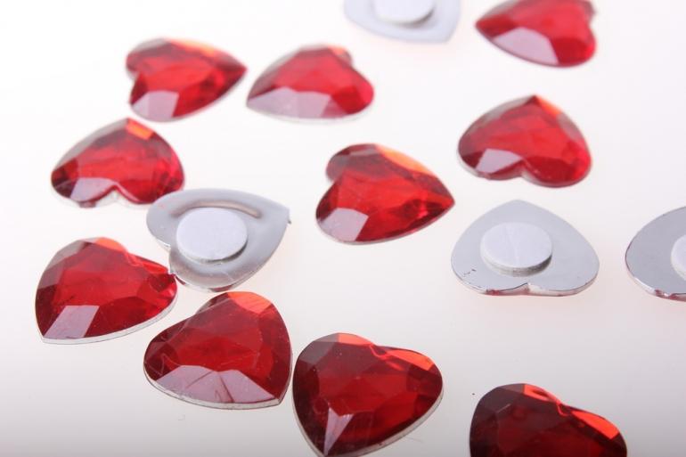 липучки декоративная липучка флористическая - сердце большое пласт. гранен. 2,2см  (24шт) 1665