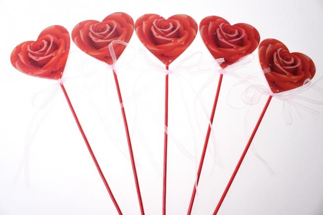 вставки декоративная вставка флористическая - 58868 вставка сердце с розой (24 шт. в уп.) 28992604