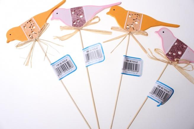 вставки декоративная вставка флористическая - вставка птичка розовая оранжевая (12шт. в.уп.) 8408