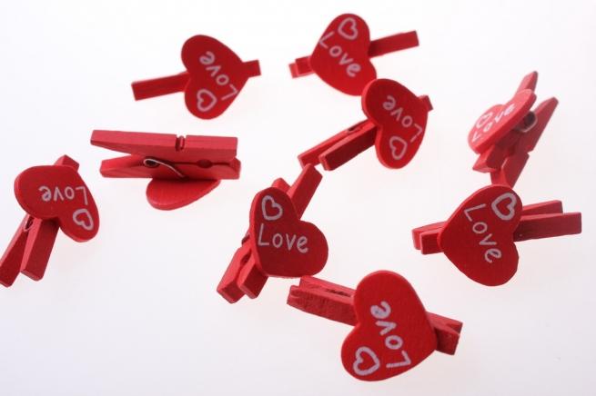 прищепки декоративные прищепки флористические - 4458 прищепка сердце (24шт в уп.) 2578
