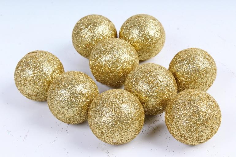 Декоративный наполнитель Шарики с глиттером (пенопласт) золото D=5см САА715400