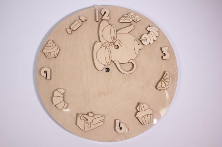 деревянная заготовка - часы чаепитие, d=25см, основа фанера 6мм, накладки фанера 3мм  201030