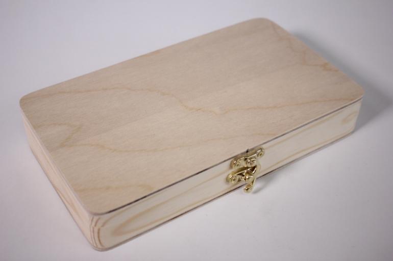 деревянная заготовка - купюрница с замочком скругленная 19*11см, h=3см