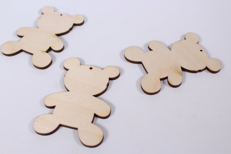 деревянная заготовка - мишка 8*5,7см, 3шт, набор, фанера 4мм,  302057