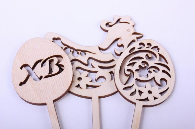 """деревянная заготовка - набор топперов """"пасхальные яйца и резная курочка"""" яйца 16*4,5см, курица 18*8см, фанера 3мм  402069"""