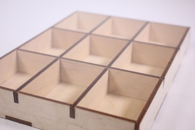 деревянная заготовка - органайзер для мелочей 22*16*3см  302018