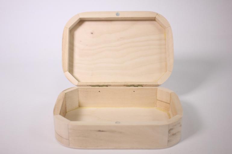 деревянная заготовка - шкатулка с закругленными краями №1 17x11см h=5см