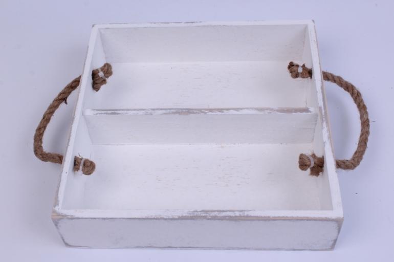деревянныйящик-поддонсперегородкамиибоковымиверёвкамиlбелый25*25*6см