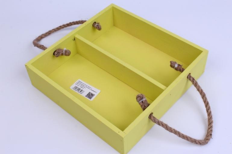 деревянныйящик-поддонсперегородкамиибоковымиверёвкамиlжёлтый25*25*6см