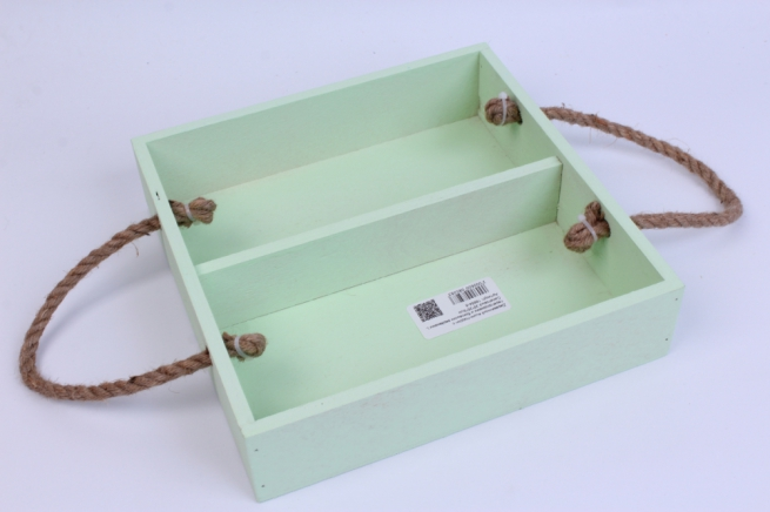 деревянныйящик-поддонсперегородкамиибоковымиверёвкамиlсалатовый25*25*6см