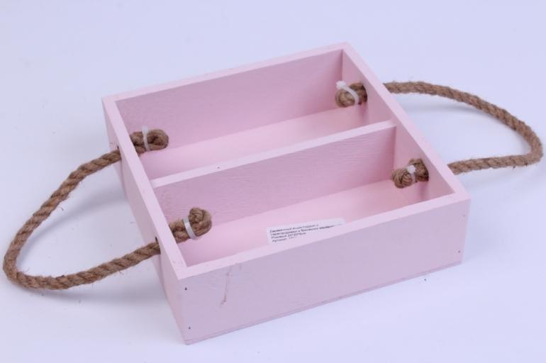 деревянныйящик-поддонсперегородкамиибоковымиверёвкамимрозовый20*20*6см