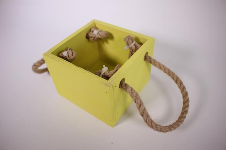 деревянныйящиксбоковымиверёвкамиsжёлтый12*12*10см