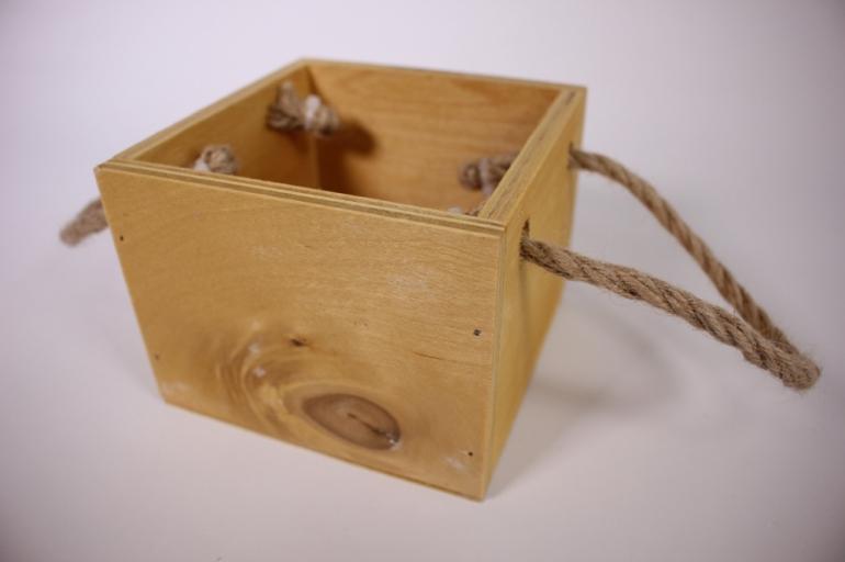 деревянныйящиксбоковымиверёвкамиsнатуральный12*12*10см