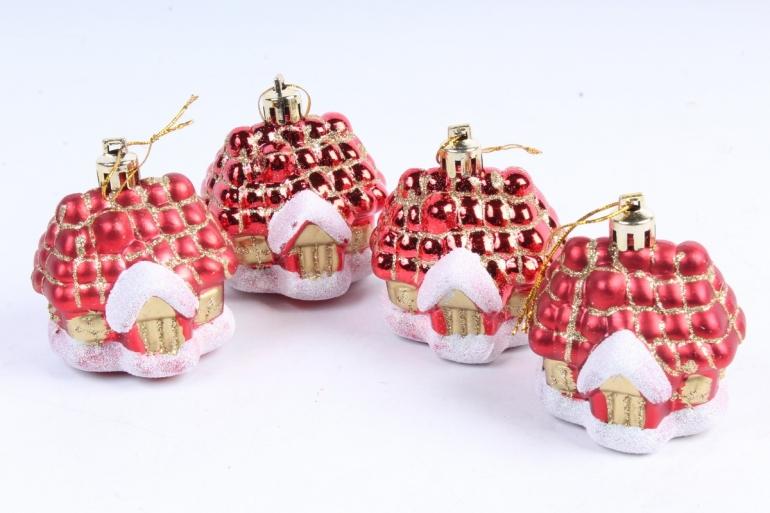 Домик-игрушка новогодняя (H-6см) (4шт) DN-31578 (И)