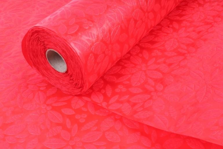 Фетр Ламинированный 50см*10м Листочки красный (Н)