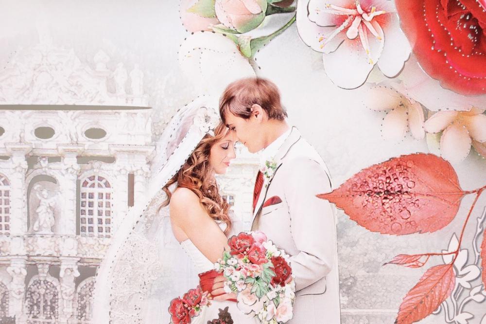 свадебное сердце на открытке вообще, немного практики