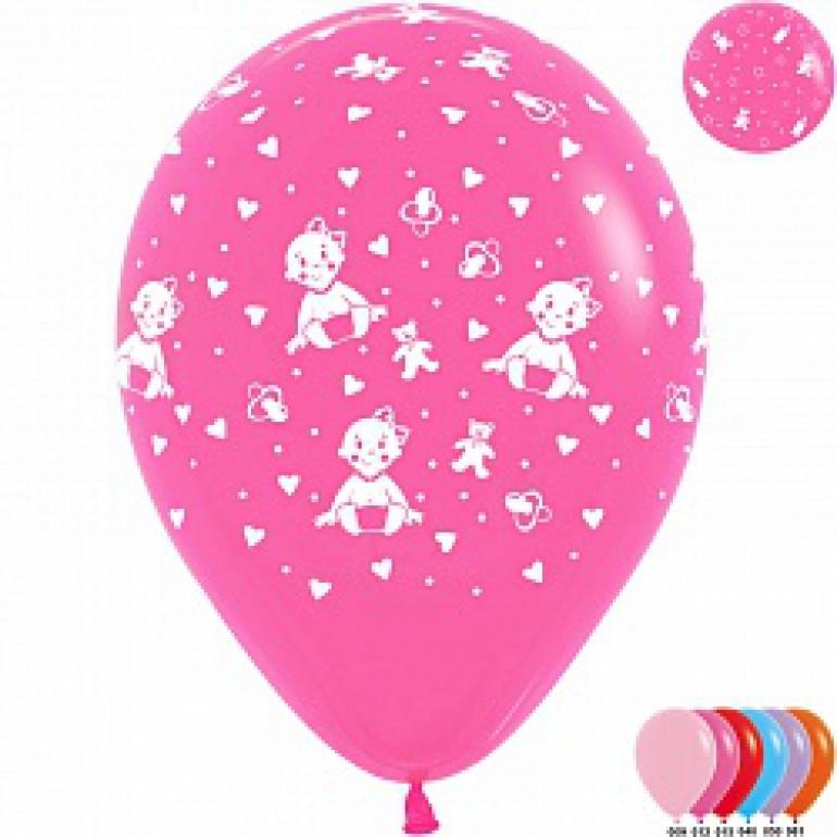 """гелевые шары воздушные (12""""/30см) малышка девочка, ассорти, пастель, 5ст,50шт 106533"""