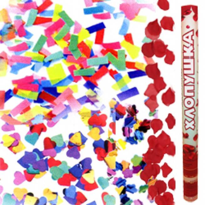 Хлопушка (пневмохлопушка) 60см ассорти из бумаж. конфети и лепестков роз