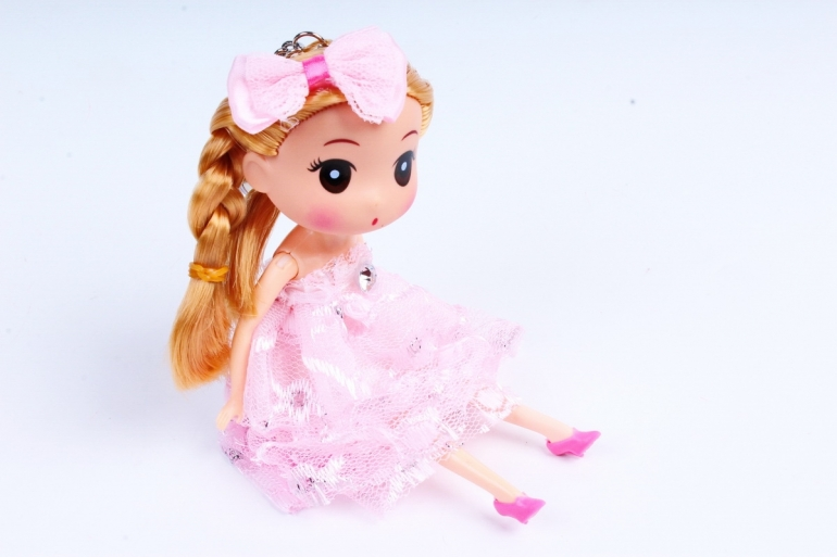 Игрушка для букета (Г) - Куклы-11, Розовая с кружевом 17*5см, арт.55Т-1